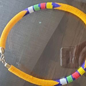 Ankara Hand Beaded Arican Necklace